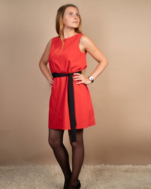 Petite friendly red reversible dress with black belt