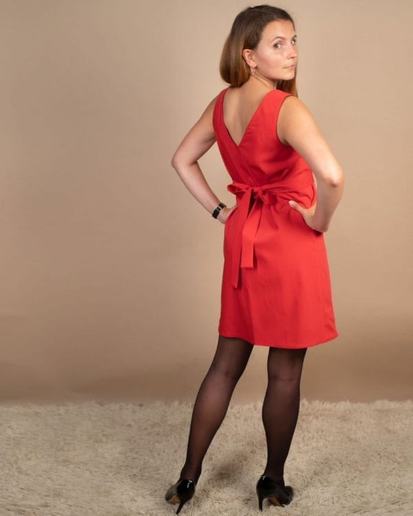 Petite friendly red reversible dress