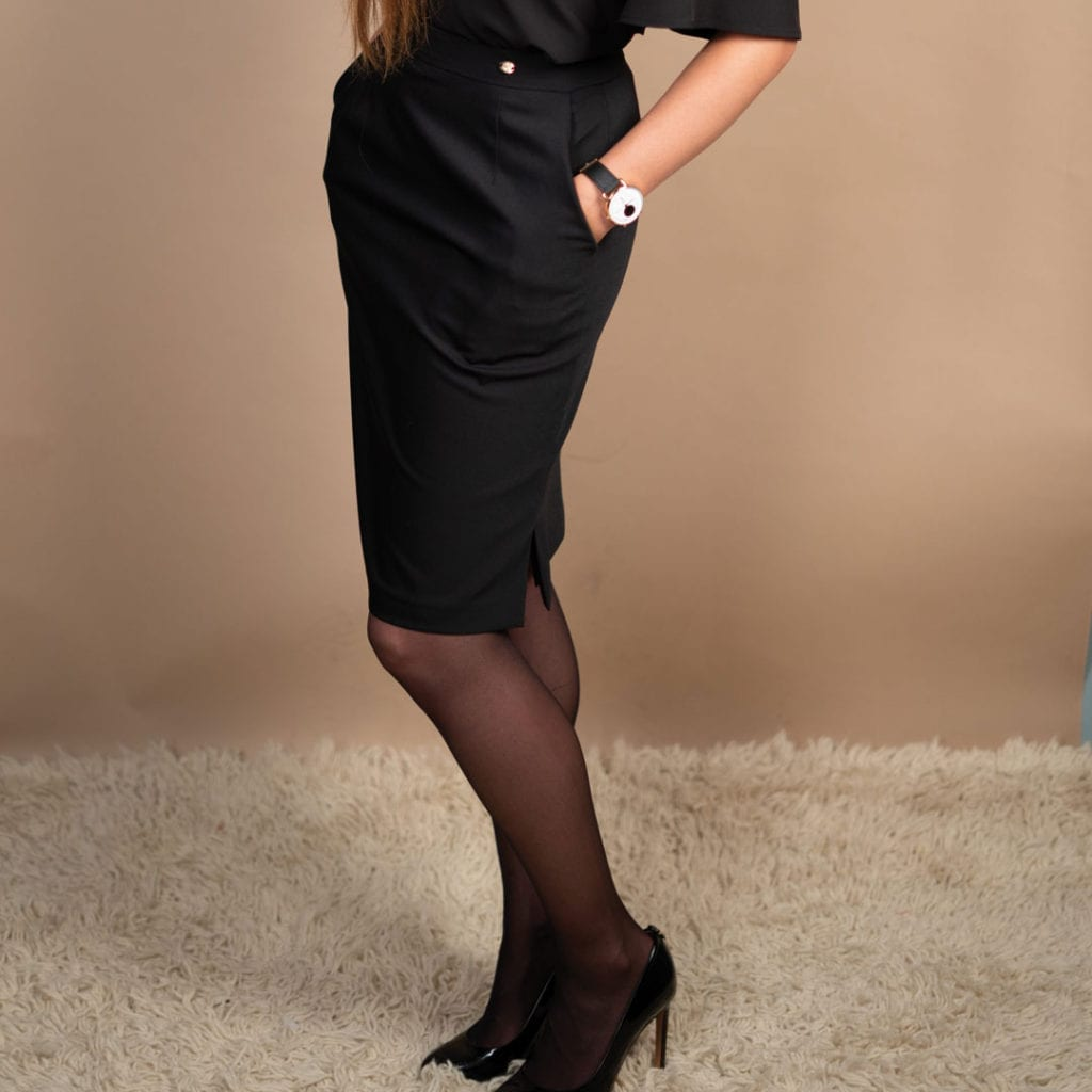 Anna, Petite black pencil skirt