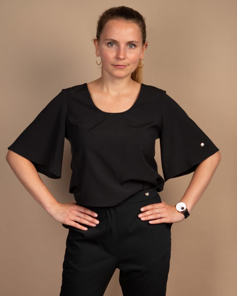 Audacia, Petite Black flared sleeved top