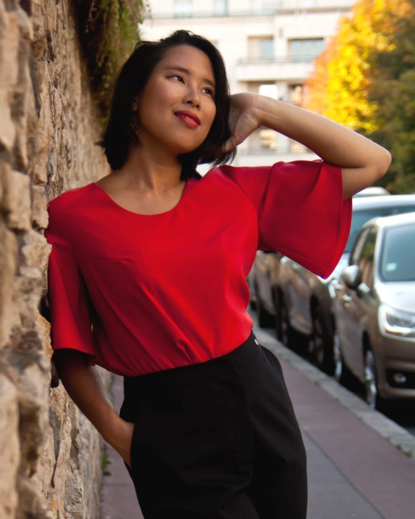 Audacia, Petite Red flared sleeved top